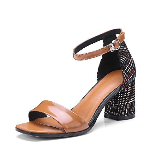 2ca1a8c4 70% OFF Zapatos de Mujer de Cuero Primavera Verano Sandalias de Tacón Grueso  Bloque Heel