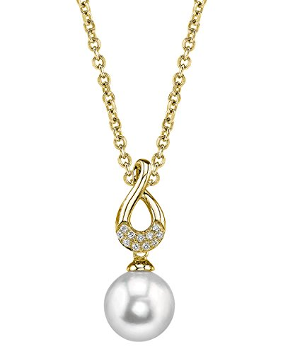 THE PEARL SOURCE 14K Gold 8-9mm Round White Freshwater Cultured Pearl & Diamond Noa Pendant Necklace for Women ()