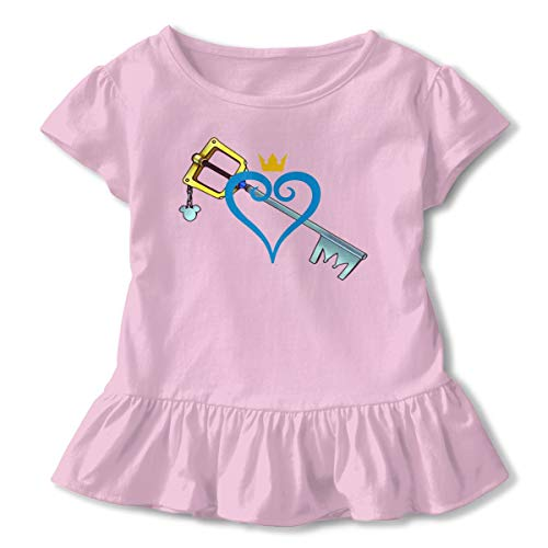Kid T Shirt Heart and Sword 3D Tee Baseball Ruffle Short Sleeve Cotton Shirts Top for Girls Kids Pink