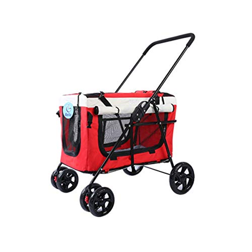 WLDD Four Wheel Pet Stroller, 3-in-1 Soft ,Sided Detachable Pet Carrier Travel Crate and Pet Stroller Bearing 20KG (Color : Red)