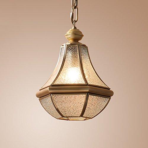 LOFAMI European Style Retro Luxury Copper Chandelier Glass Lampshade E27 Pendant Lamp Living Room Corridor Cafe Study Decoration Ceiling Lamp, 28 32CM by LOFAMI (Image #6)