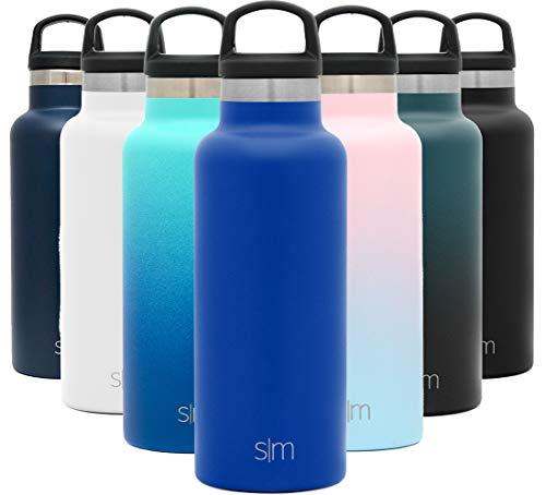 Simple Modern 17oz Ascent Water Bottle - Stainless Steel Flask w/Handle Lid - Blue Hydro Double Wall Tumbler Vacuum Insulated White Small Reusable Metal Leakproof -Twilight