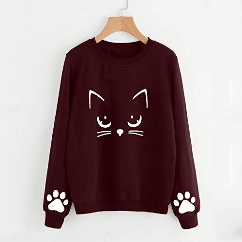 mercato Autunno Aimee7 buon T Shirt Manica lunga Rosso Cat Blouse Abbigliamento Donna Inverno a 47qqPtr