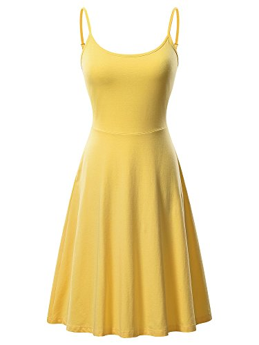 VETIOR Women's Sleeveless Adjustable Strappy Flared Midi Skater Dress (Medium, Yellow)