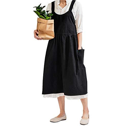 YXDZ Delantal Literario para Damas Párrafo Largo Femenino sobre La Rodilla Trabajo Largo Hogar Cocina Lindo Chaleco De Algodón Delantal Neg