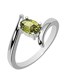 0.55ctw, Genuine Peridot 4x6mm Oval & Solid .925 Sterling Silver Rings