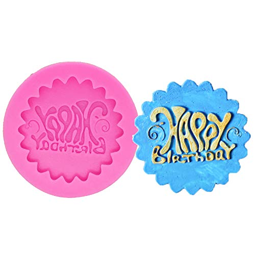 Happy Birthday Cake Mold Happy Birthday Plaque Mould Silicone Mold for Fondant Gum Paste Chocolate Crafts Cake Decorating Tools Sugarcraft Cupcake