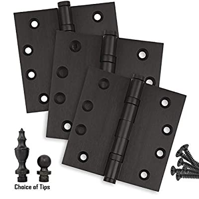 Door Hinges 4 x 4 Extruded Solid Brass Ball Bearing Heavy Duty Oil Rubbed Bronze US10B Stainless Steel Removable Pin, Architectural Grade, Ball/Urn/Button Tips Included