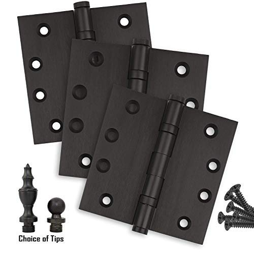 Door Hinges 4 x 4 Extruded Solid Brass Ball Bearing Heavy Duty Oil Rubbed Bronze US10B Stainless Steel Removable Pin, Architectural Grade, Ball/Urn/Button Tips Included (3)