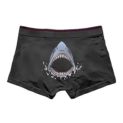 DACHEN Men's Performance Cartoon Shark Teeth1 Cotton Boxer Brief Underwear L Black - Barbara Women Underwear