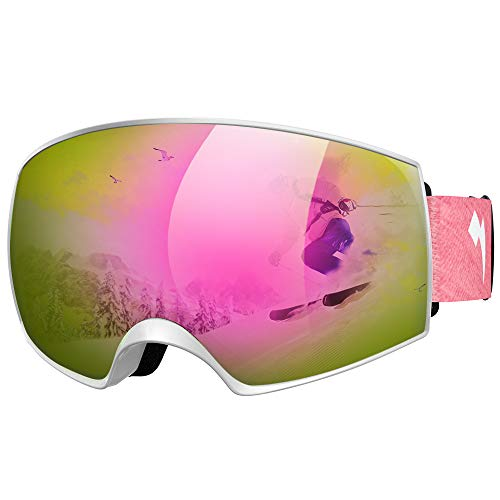 WhiteFang Ski Goggles PRO Snow Goggles Magnet Dual Layers Lens Over Glasses Design Anti-Fog 100% UV400 Protection Anti-Slip Strap for Men Women Youth (White-Pink)