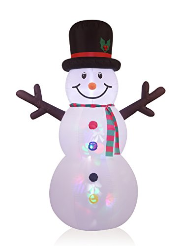8FT Inflatable Snowman with Projection Lighting Indoor Outdoor Christmas Holiday Decorations (Snowman Lawn Decorations)