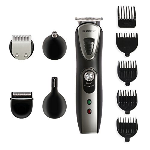 SUPRENT Beard Trimmer Men's Grooming Kit, Multi-function Body Groomer for Men, Professional Electric Hair Shaver Rechargeable Cordless Facial Head Nose Hair Clippers Trimmer (Black)