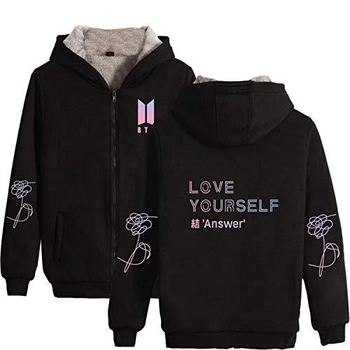 - Kpop BTS Love Yourself Answer Hoodie Jung Kook Jimin Suga Thickening Zipper Sweater