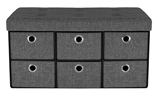 Sorbus Storage Bench Chest with Drawers - Collapsible Folding Bench Ottoman Includes Cover - Perfect for Entryway, Bedroom Bench, Cubby Drawer Footstool, Hope Chest, Faux Linen (Gray)