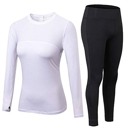 (Sanke Women Running Suit Compression Long Johns Breathable Top & Bottom)
