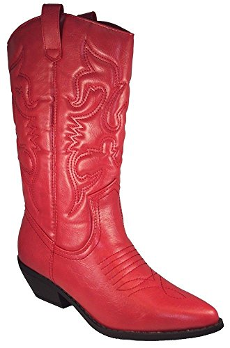 Soda Women Cowgirl Cowboy Western Stitched Boots Pointy Toe Knee High RENO-S Red 8 (Boot Cowboy Red)