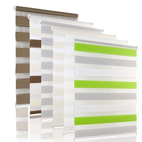 OUBO Doppelrollo Klemmfix Duo Rollo ohne Bohren - (BxH) 85 x 230 cm Grün-Grau-Weiß - Seitenzugrollo mit Klemmträger für Fenster / Tür