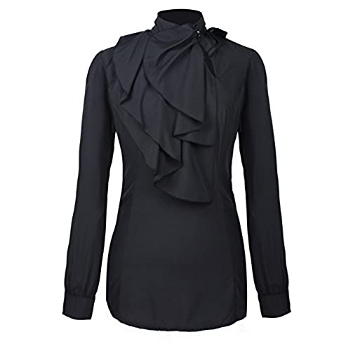 Womens Black Tiered Ruffle Sleeve Blouse - Mia Belle Baby