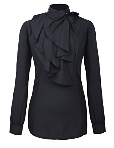 Black Ruffle Blouse (Firpearl Women's Vintage Ruffle Long Sleeve Shirt Blouse Tops M Black)