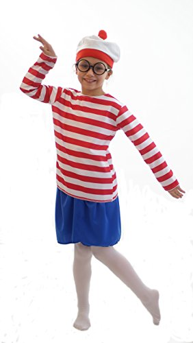 [World Book Day-Fancy Dress- WALLY GIRL COSTUME - All Children's Sizes (AGE 7-8)] (Wheres Wally Fancy Dress Kids)