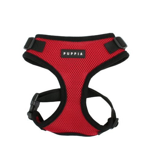 Authentic Puppia RiteFit Harness with Adjustable Neck, Red, Medium, My Pet Supplies