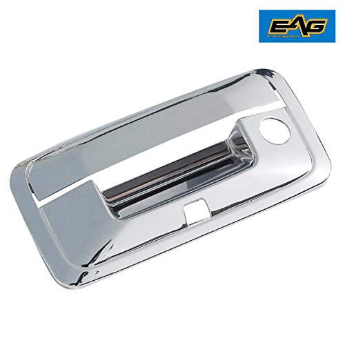 E-Autogrilles Triple Chrome ABS Tailgate Door Cover With Camere Hole for 14-17 Chevy Silverado 1500/GMC Sierra 1500/15-17 Silverado 2500/3500/Sierra 2500/3500/Canyon/Colorado
