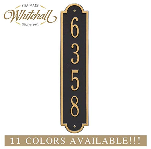 (The Richmond Vertical Address Plaque. Personalized Cast Metal Sign. 11 Colors Available! Custom House Numbers)