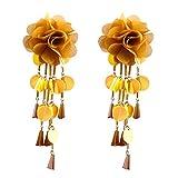 Flower Earrings, Elogoog Stylish Sequins Dangle Long Earrings Fashion Tassel Rhinestone Stud Earring Jewelry (Yellow)