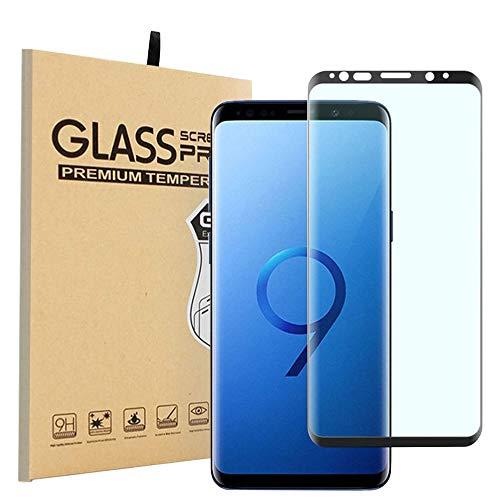 Galaxy S9 Plus ガラスフィルム 【最新型 ケースに干渉されず】 3Dラウンドエッジ 熱曲げ 旭ガラス 硬度9H 高透過率 透明 貼付簡単 指紋防止 撥油性 高感度 6.2インチ 保護フィルム(Samsung Galaxy S9+/ギャラクシー S8 プラス/au SCV39/docomo SC-03K 対応)(ブラック)Nutmeg