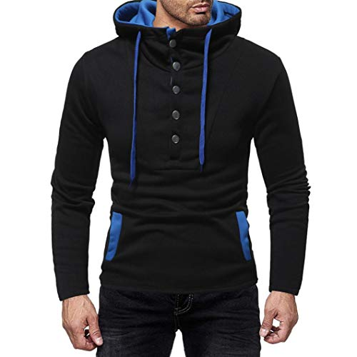Realdo Sweatshirt for Mens, Men's Casual Contrast Color Crewneck Elastic Drawstring Single-Breasted Hoodie Top Tee(X-Large,Black) by Realdo