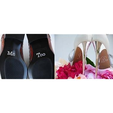 2 Wedding Rhinestone Shoe Decals Stickers -  I Do  &  Me Too  UO0034