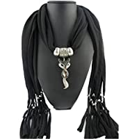 AutumnFall Women Girl Pendant Scarf With Tassel Rhinestone Necklace Scarves (A - 21)
