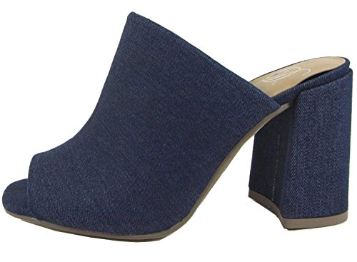 Delicious Women's Peep Toe Slip On Sueded Clog Platform Sandal (8.5 B(M) US, Denim Blue)