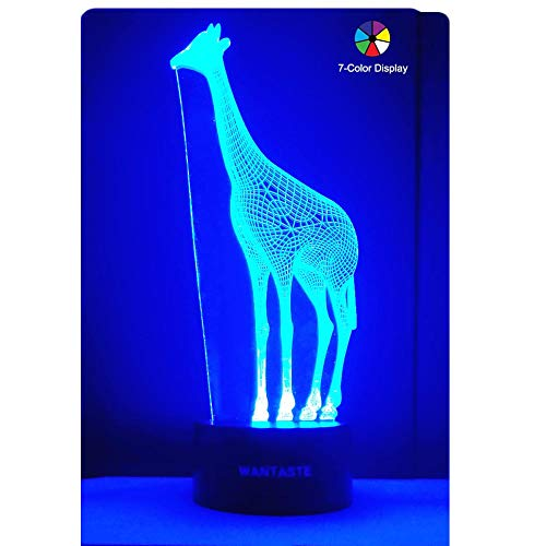 WANTASTE 3D Giraffe Lamp, Optical Illusion Night Light for Room Decor & Nursery, Cool Birthday Gifts & 7 Color Changing Toys for Girls & Women