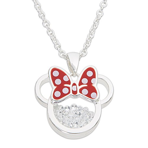 Disney Birthstone Women and Girls Jewelry Minnie Mouse Silver Plated April Clear Cubic Zirconia Shaker Pendant Necklace, 18+2