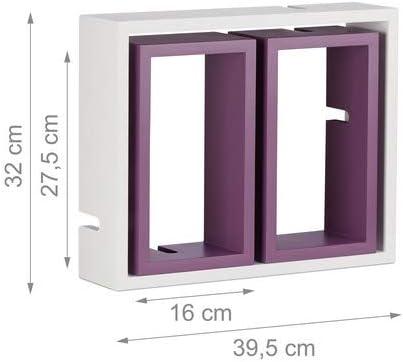 Ripiani in Legno MDF Bianco-Viola Relaxdays 10021805/_749 Mensole da Parete Cube HxLxP: 48 x 70,5 x 10 cm