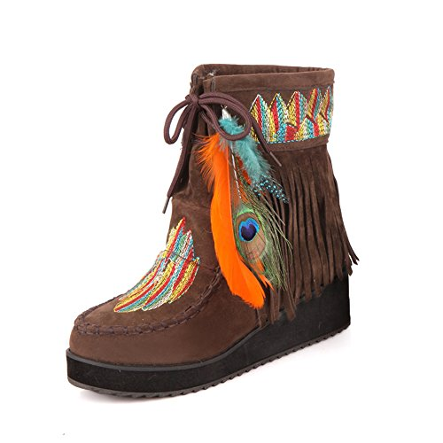 MAIERNISI JESSI Womens Suede Wedge Embroidered Ankle Short Boots Indian Style Feather Tassels Fleece Lined Booties Brown 41-US - Boots Ankle Indian