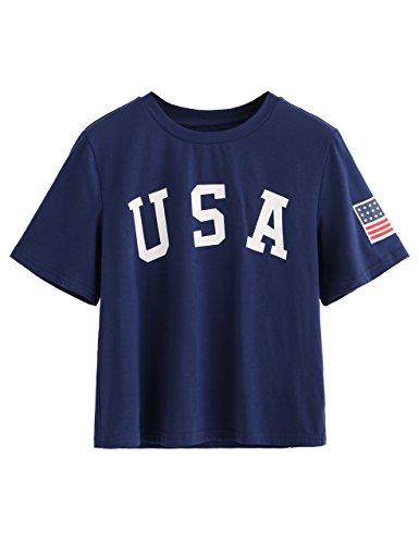 SweatyRocks Women's Letter Print Crop Tops Summer Short Sleeve T-shirt (Medium, Nary)