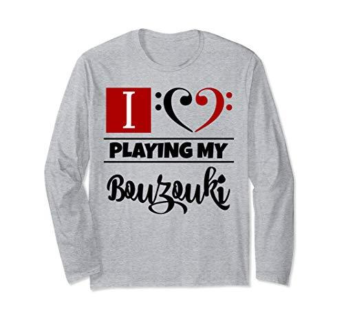 Double Black Red Bass Clef Heart I Love Playing My Bouzouki Unisex Long Sleeve Shirt