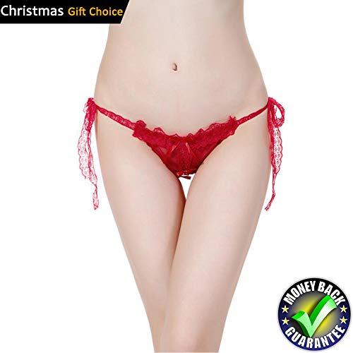 (Ellen Women's Sexy Lace Open Crotch Panties V Thong Panties Underwear Lingerie)