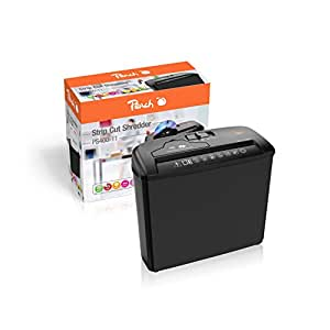 Peach PS400-11 - Destructora de papel de corte en tiras, tarjetas de crédito y CDs con recipiente separable y capacidad de hasta 5 hojas, color negro