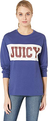 Juicy Couture Women's Juicy Long Sleeve Color Block Graphic Tee Regal X-Large