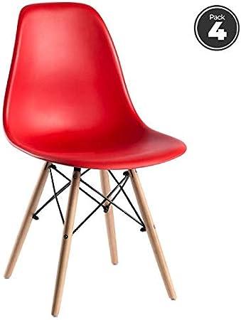 Regalos Miguel - Packs Sillas Comedor - Pack 4 Sillas Tower Basic - Rojo - Envío Desde España: Amazon.es: Hogar