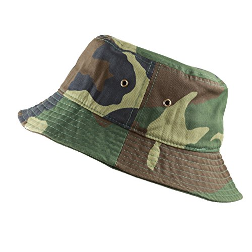 - THE HAT DEPOT Youth Kids Washed Cotton Packable Bucket Travel Hat Cap (7-10yrs, Woodland Camo)