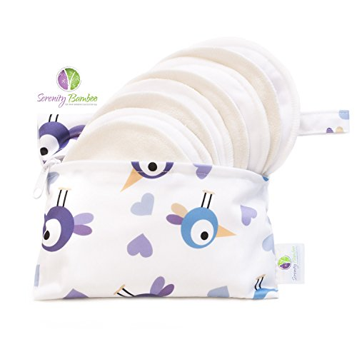 Organic Nursing Pads Extra Soft (Washable Organic Bamboo 12CM Daytime Nursing Pads 8 pack (4 pair) with Laundry Bag - Natural and Reusable, Ultra Soft, and Super Absorbent for the Ultimate Luxury Breast Pad - By Serenity Bamboo)