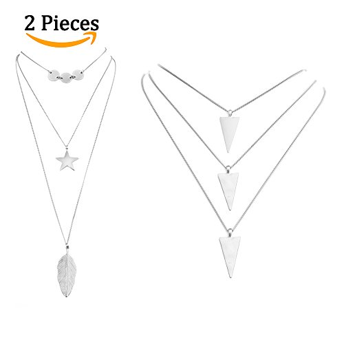 Anni Coco 2 PCS Multilayer Chain Lariat Necklace with Silver Triangle,Sequins Star & Feather Pendant for Women