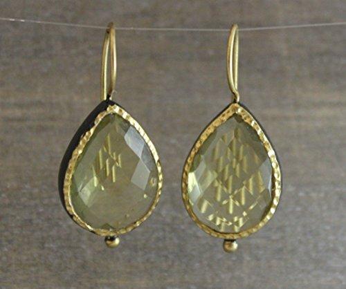 Citrine Lemon Quartz Pear Cut Gold Plated Oxidized Sterling Silver Drop - Drop Lemon Quartz