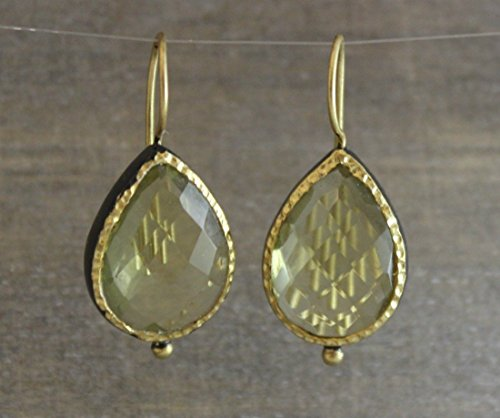 Citrine Lemon Quartz Pear Cut Gold Plated Oxidized Sterling Silver Drop Earrings