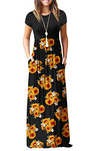 TODOLOR Women's Round Neck Sun Flower Print Dresses Short Sleeve Loose Maxi Dresses with Pockets (M, Sun Flower) (Flower Print Maxi Dress)